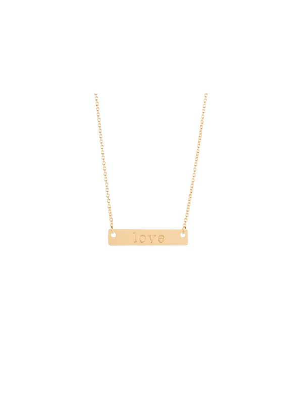 Gold 'Love' Bar Necklace - 16""